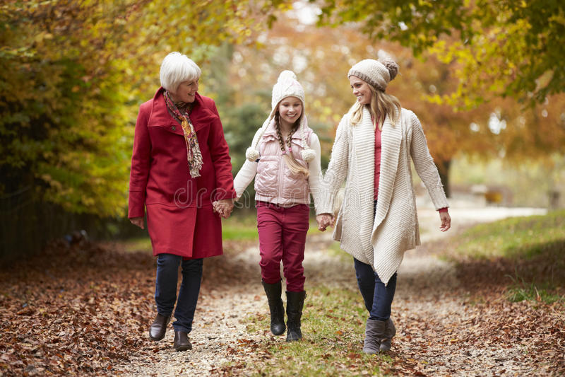 Familj för kvinnligMultl utveckling som promenerar Autumn Path royaltyfri fotografi