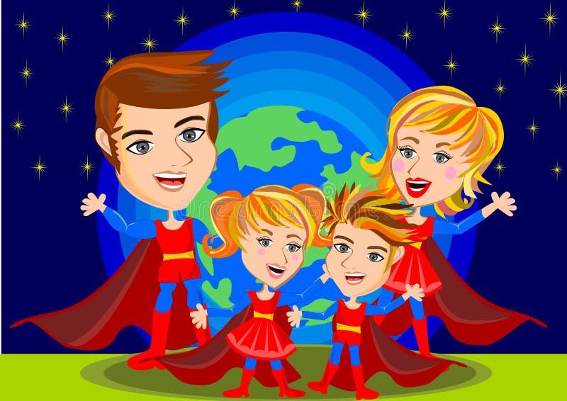 Familj för toppen hjälte vektor illustrationer
