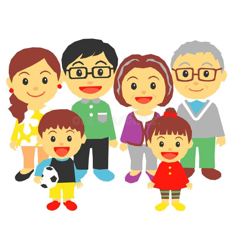 Familj för tre utveckling royaltyfri illustrationer