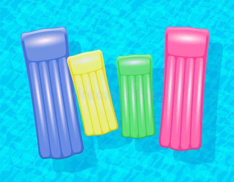 Familj för vatten för simbassäng för luftmadrasser stock illustrationer