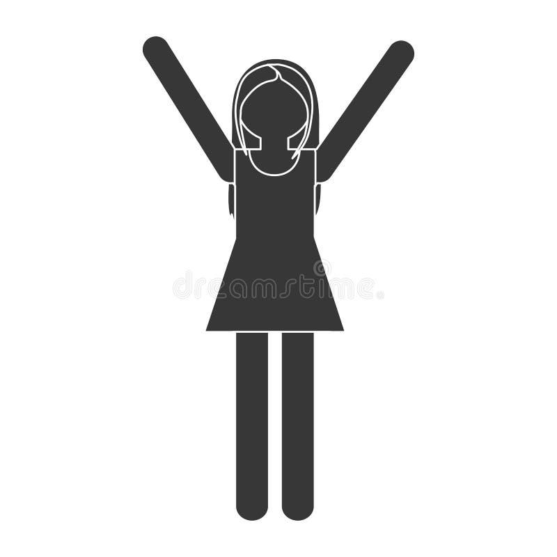 familj för vuxen människa för konturmammakvinna stock illustrationer