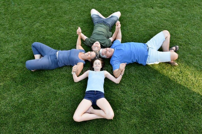 Familj, fader, moder, son och dotter som ligger i ängen fotografering för bildbyråer