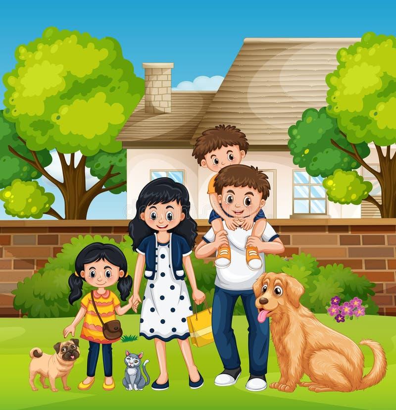 Familj framme av huset vektor illustrationer