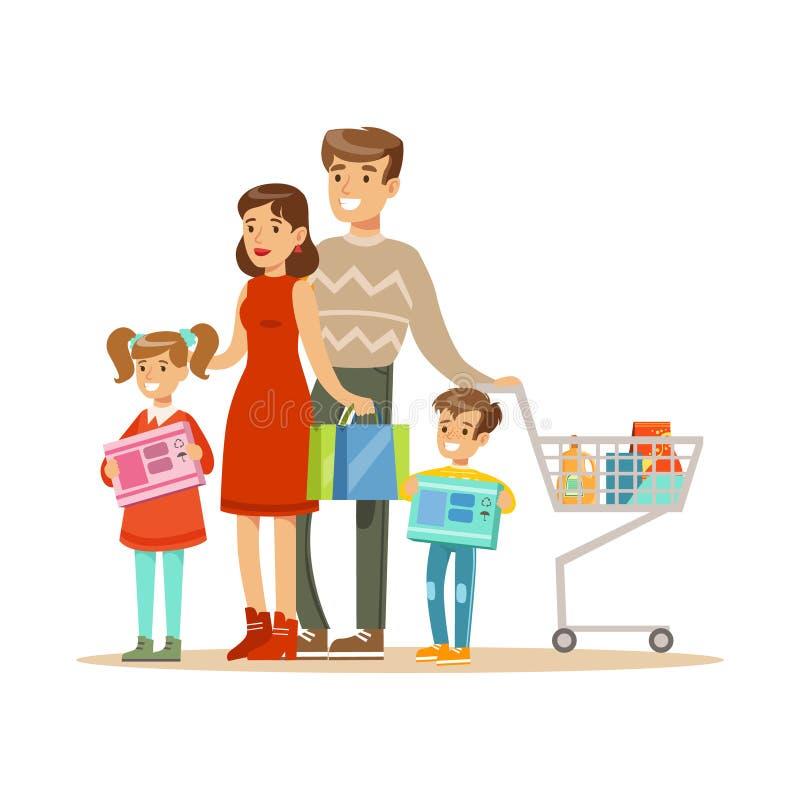 familj fyra Färgrik vektorillustration med lyckligt folk i supermarket royaltyfri illustrationer
