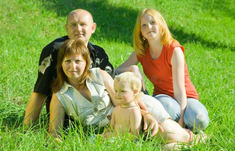 familj fyra gräs att posera arkivfoton