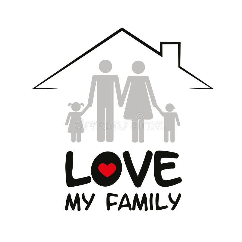 Familj i en husmoderfader och två barn royaltyfri illustrationer