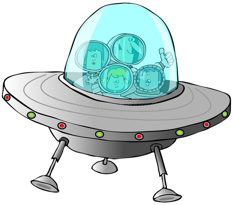 Familj i en ufo vektor illustrationer