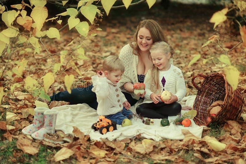 Familj i höstskogen royaltyfri bild