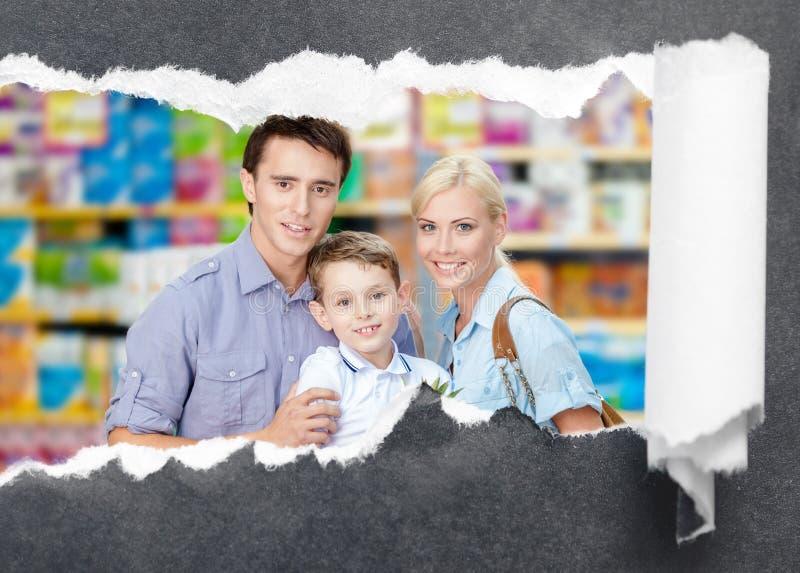 Familj i köpcentret royaltyfri bild