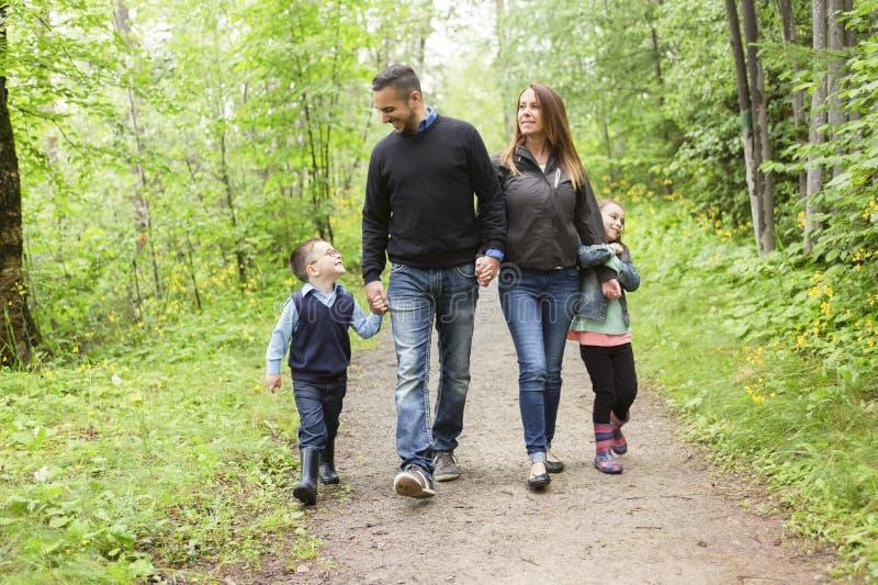 Familj i skog på en äng arkivfoton