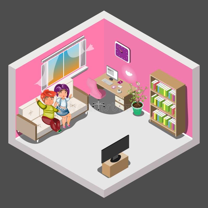 Familj i vardagsrummet som tillsammans sitter på soffan och den hållande ögonen på TV:N stock illustrationer