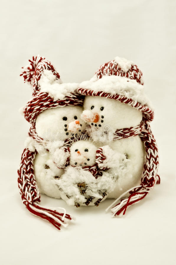 familj isotated snowman arkivfoton
