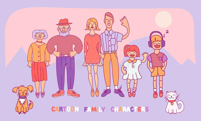Familj: mamma, farsa, son, dotter, farmor, farfar, hund och katt Vektorillustrationer i tecknad filmstil stock illustrationer