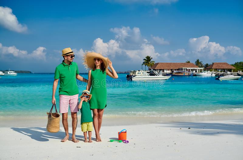 Familj med årig pojke tre på stranden royaltyfria bilder