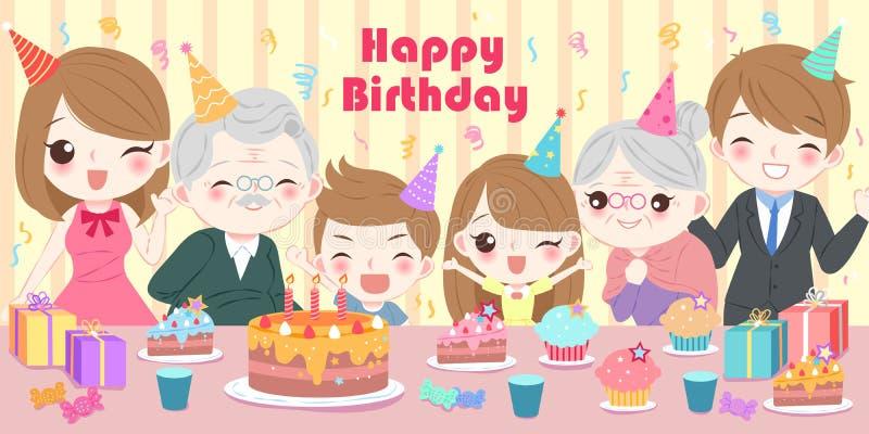 Familj med födelsedagpartiet royaltyfri illustrationer