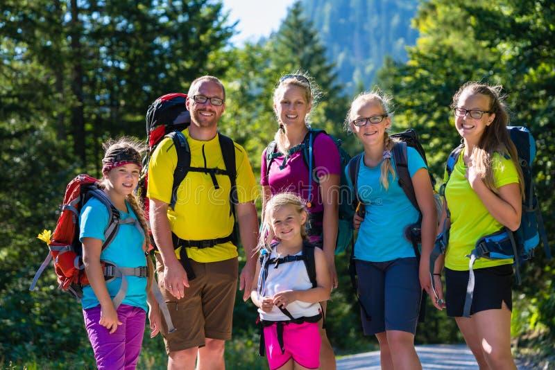 Familj med fyra ungar som fotvandrar i bergen royaltyfri bild