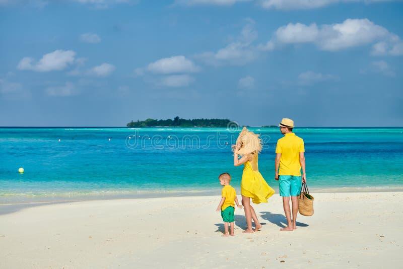 Familj med ?rig pojke tre p? stranden royaltyfri fotografi