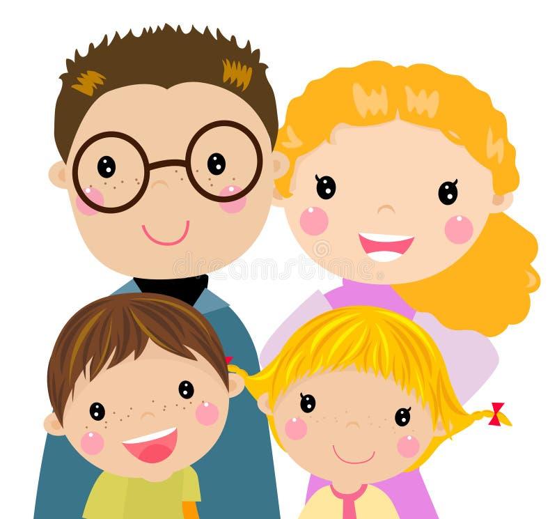Familj med två barn vektor illustrationer
