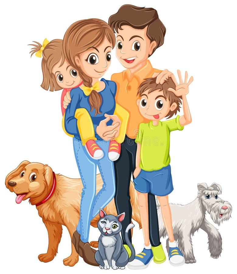 Familj med två ungar och husdjur stock illustrationer