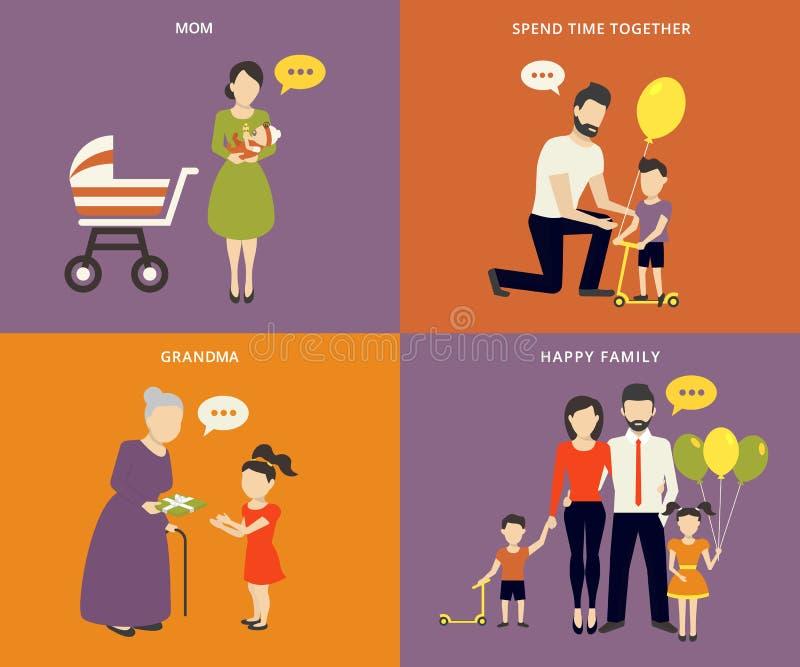 Familj med uppsättningen för symboler för barnbegreppslägenhet royaltyfri illustrationer