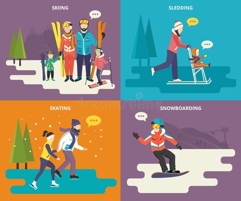 Familj med uppsättningen för symboler för ungebegreppslägenhet av vintern vektor illustrationer
