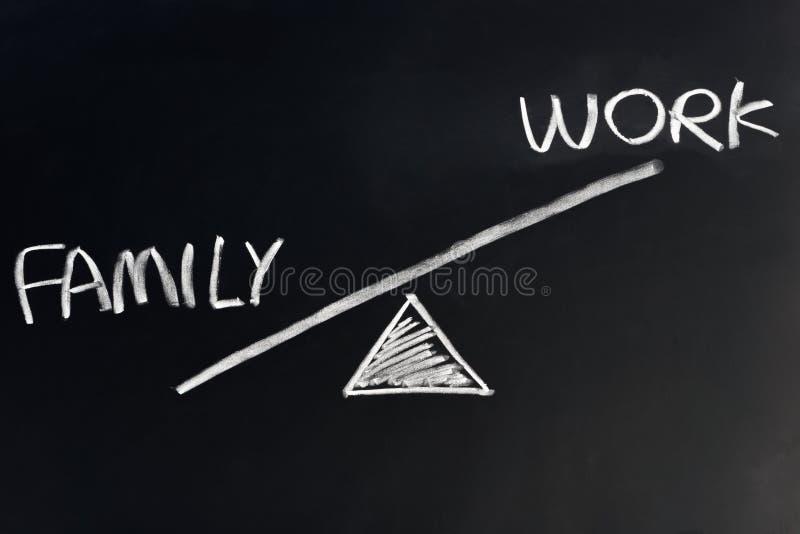 Familj mot arbete royaltyfria bilder
