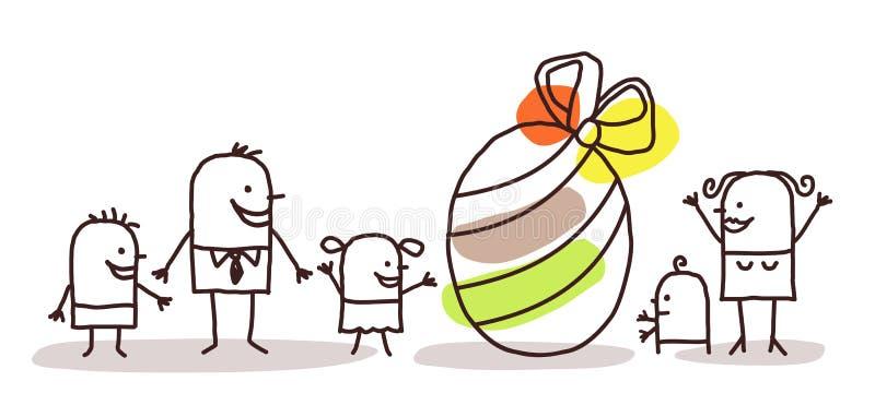 Familj- och påskägg stock illustrationer
