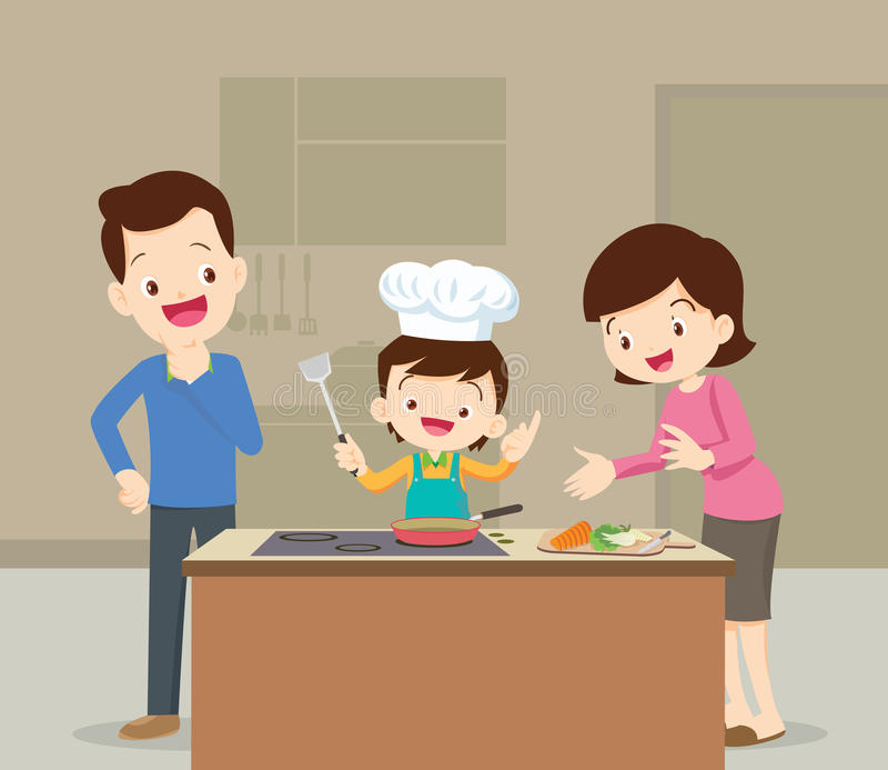 Familj- och sonmatlagning stock illustrationer