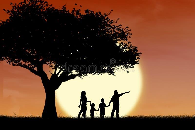 Familj- och treesilhouette vid solnedgång royaltyfri fotografi