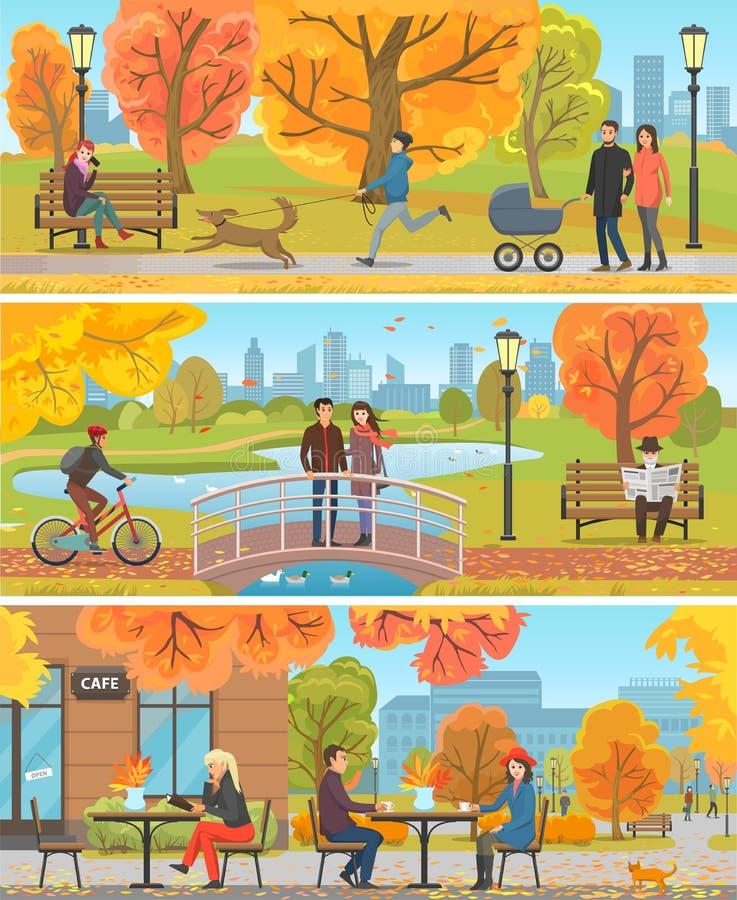 Familj och vänner Autumn Outdoor Activity Poster vektor illustrationer