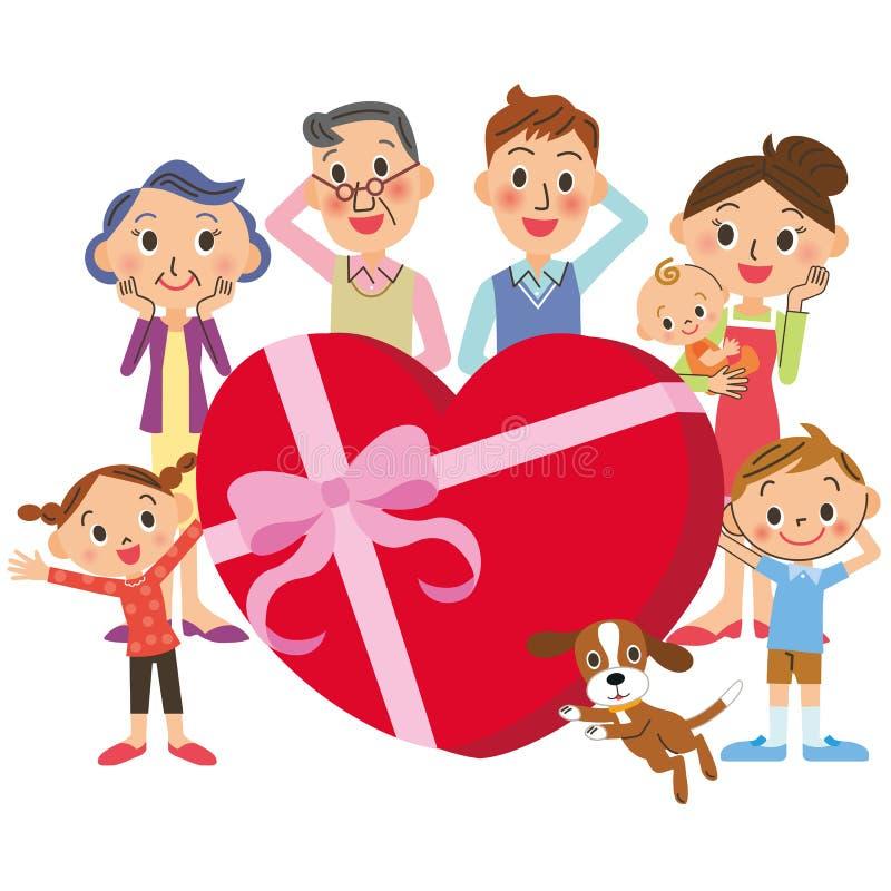 Familj- och valentin dag stock illustrationer
