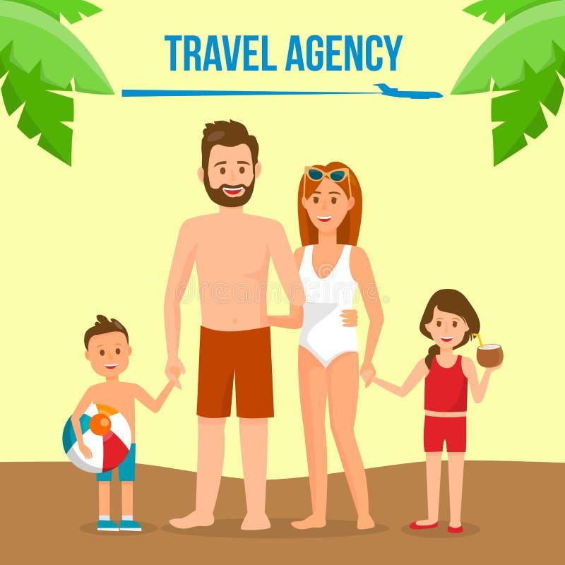 Familj på baner för massmedia för sommarsemester socialt royaltyfri illustrationer
