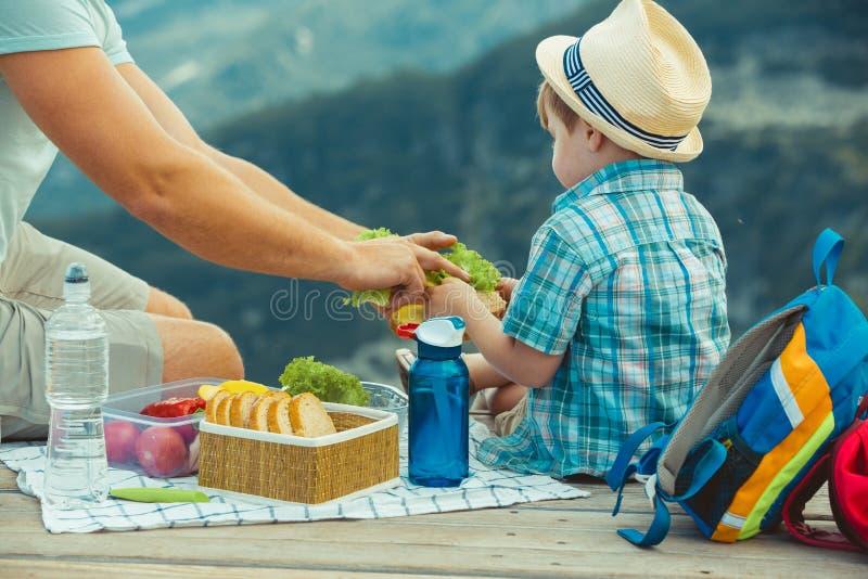 Familj på en picknick i bergen arkivbild