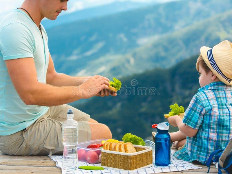 Familj på en picknick i bergen royaltyfri foto