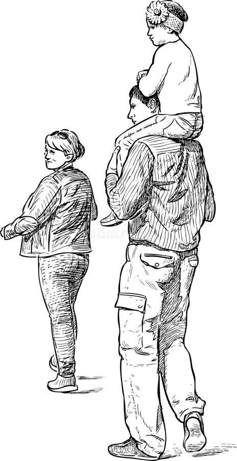 Familj på en promenad royaltyfri illustrationer