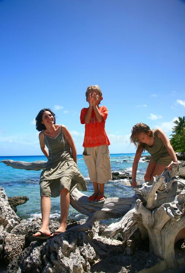 Familj på en strand royaltyfria foton