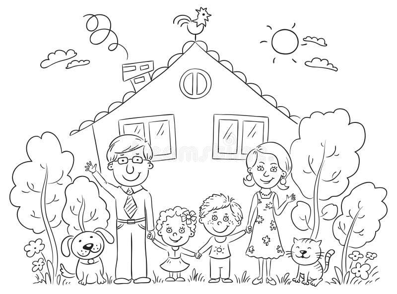 Familj på huset, översikt royaltyfri illustrationer