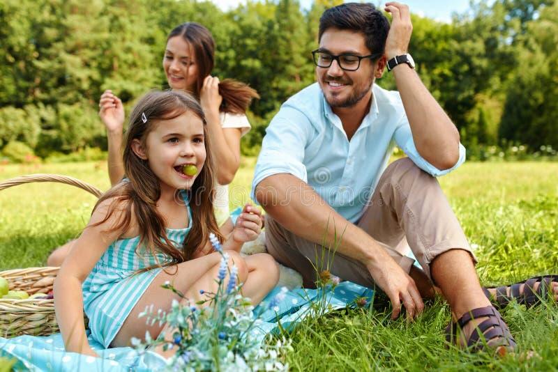 Familj på picknick Lycklig ung familj som har gyckel i natur arkivfoto