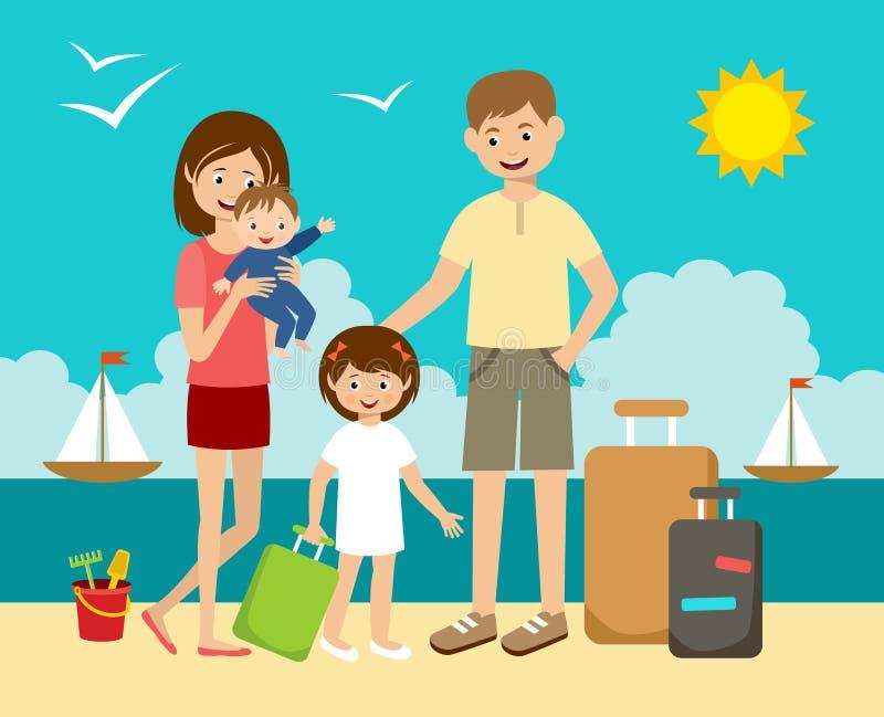 Familj på semester royaltyfri illustrationer