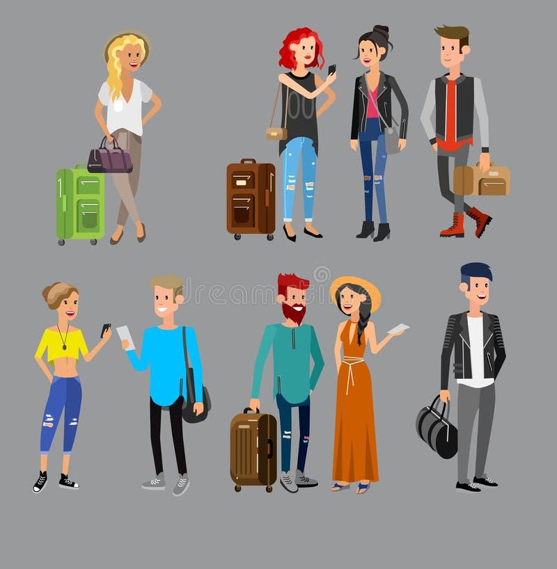 Familj på semester stock illustrationer
