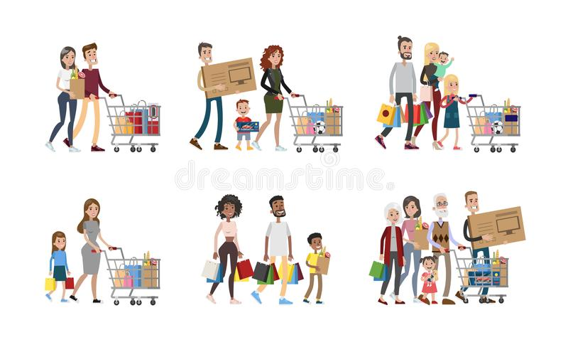 Familj på shoppinguppsättningen stock illustrationer