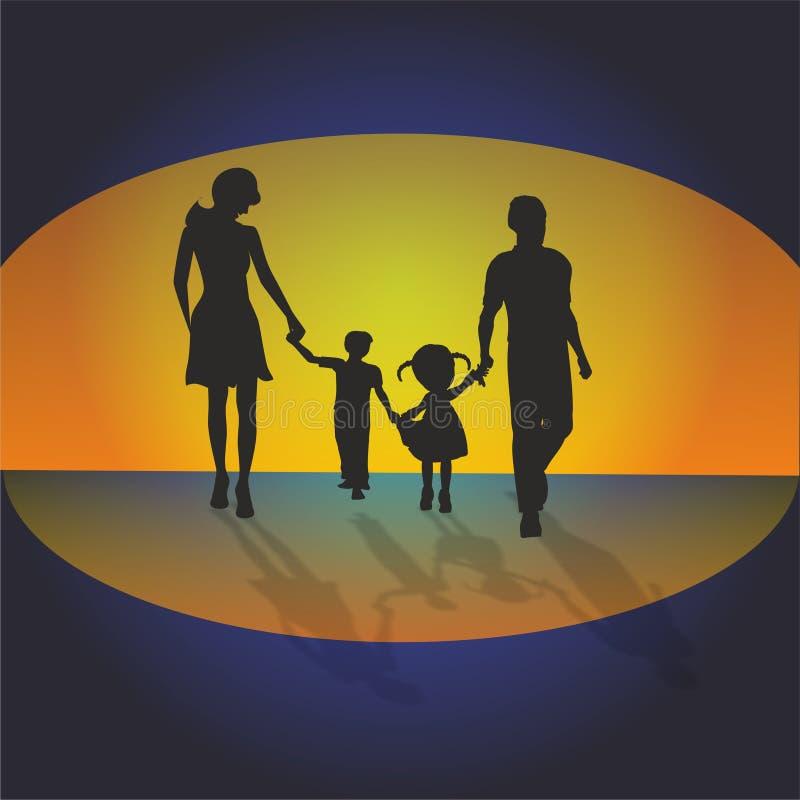 Familj på solnedgångbakgrund, vektor illustrationer