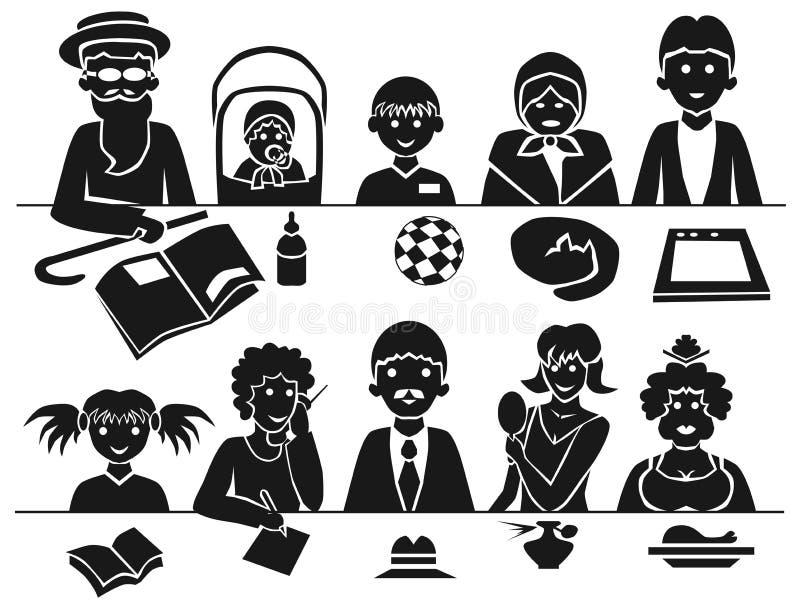 Familj på tabellen stock illustrationer