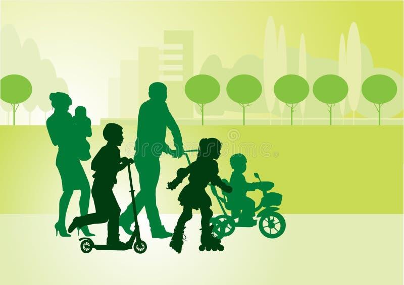 Familj på walk_1 vektor illustrationer
