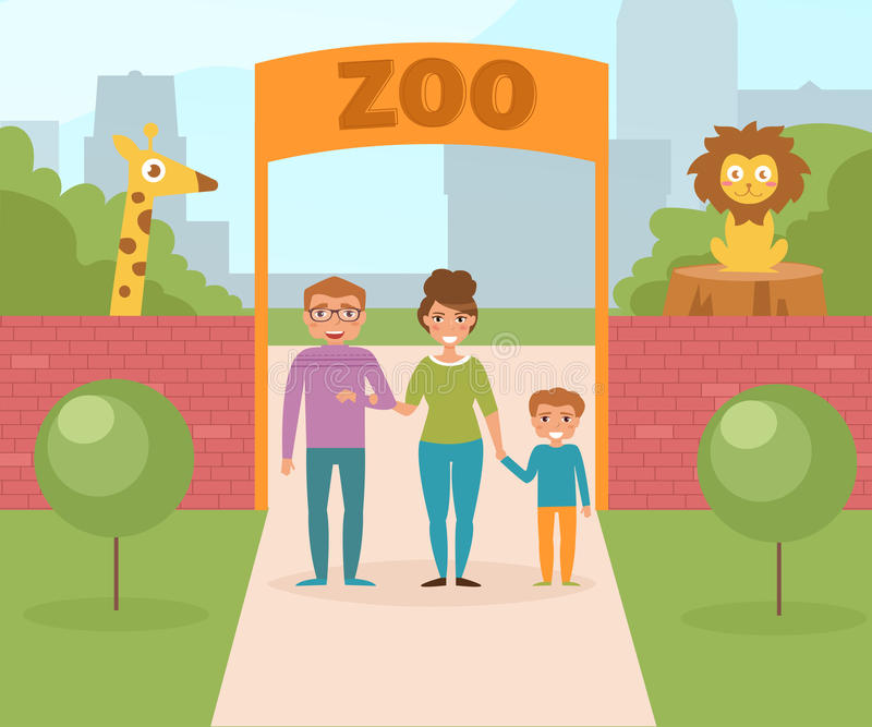 Familj på zooen port stock illustrationer