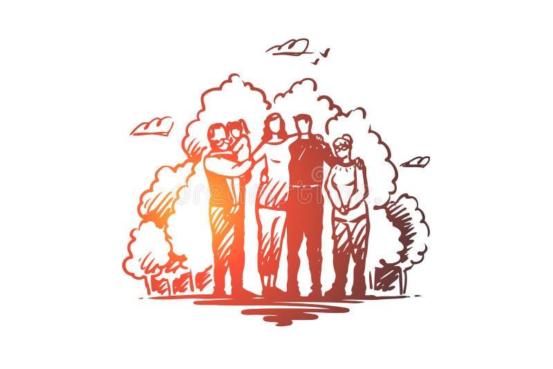 Familj samhörighetskänsla som spenderar tid med släktingbegrepp Den drog handen skissar den isolerade illustrationen royaltyfri illustrationer