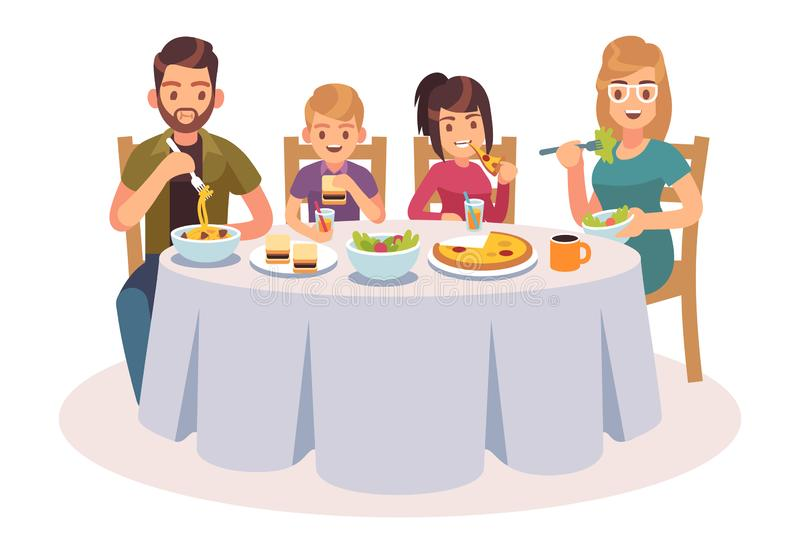 Familj som äter tabellen Det lyckliga folket äter matmatställeföräldrar som ungar avlar illustrationen för lunch för moderdotterd stock illustrationer