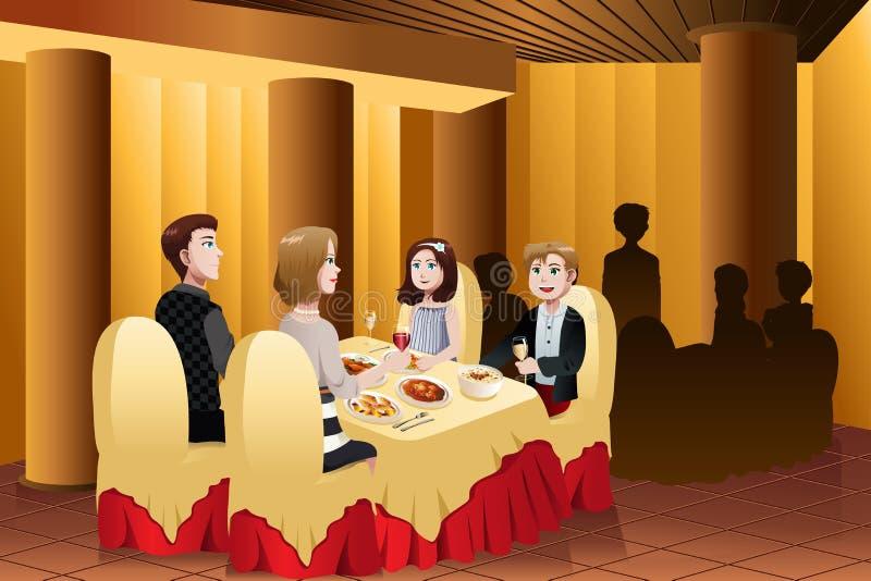 Familj som äter ut i en restaurang stock illustrationer