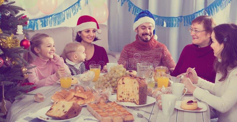 Familj som animatedly talar under julmatställe royaltyfri bild