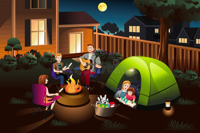Familj som campar i trädgården vektor illustrationer